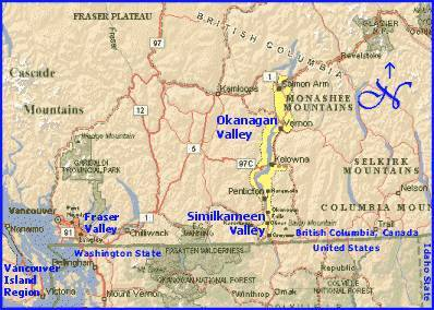 British Columbia Overview Map of Wine Regions with links