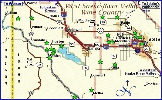 Idaho Wine Country Map and suggestions for Lodging Dining in