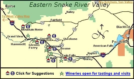 Hagerman Idaho Map.Idaho Wine Country Map And Suggestions For Lodging Dining In