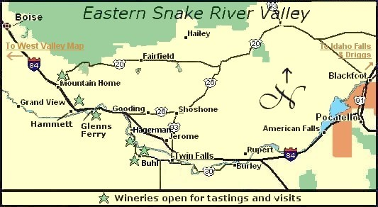 Map to eastern Snake River Valley's Idaho wine country