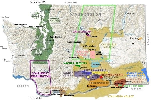Click on Map regions for more information about Washington appellations