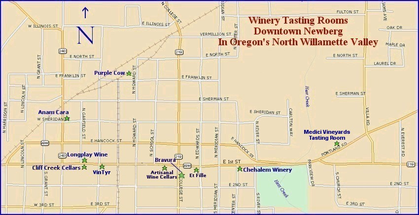 Downtown Newberg, Oregon - wine tasting locations map