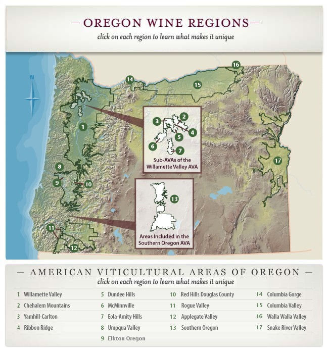 Oregon Appellations Map - 2007