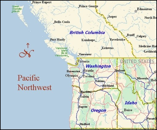 Pacific Northwest Map Overview map to the Pacific Northwest. Links to wine country maps  Pacific Northwest Map