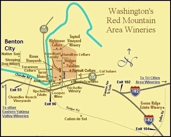 Map to the wineries of Washington's Red Mountain Appellation