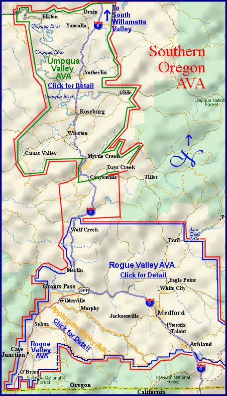 Map to the wine regions of the Southern Oregon appellation/AVA