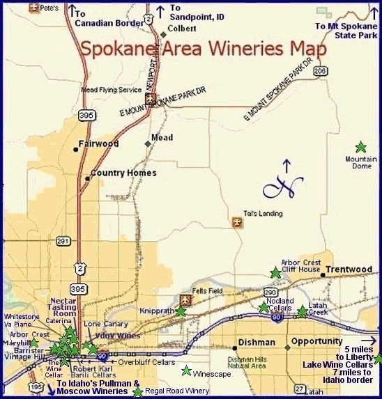Map to the wineries of Washington's Spokane area