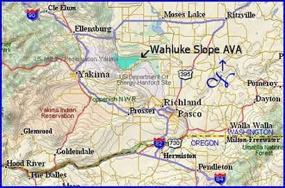 Map of Washington's Wahluke Slope appellation