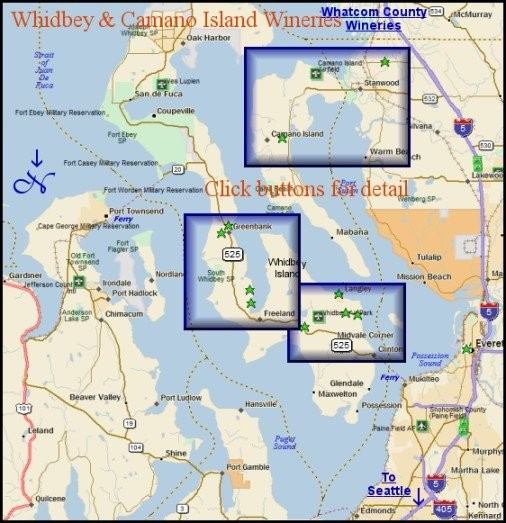 Overview map for the wineries of Whidbey and Camano Island.