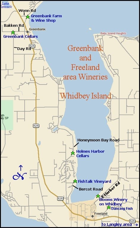 Map to Whidbey Island wineries - Greenback & Freeland area