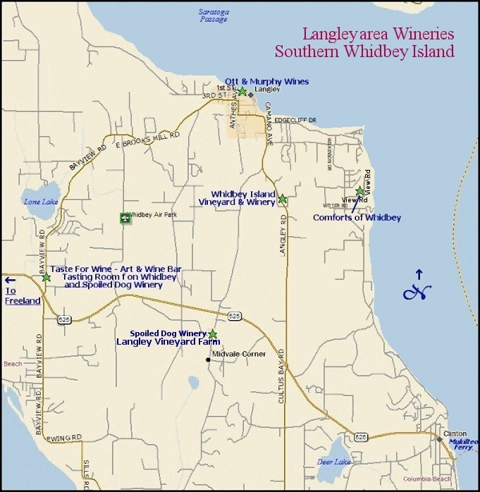 Whidbey Island Wineries - Langley Area map