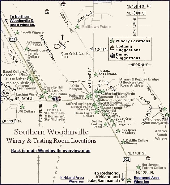 Southern Woodinville wine touring map