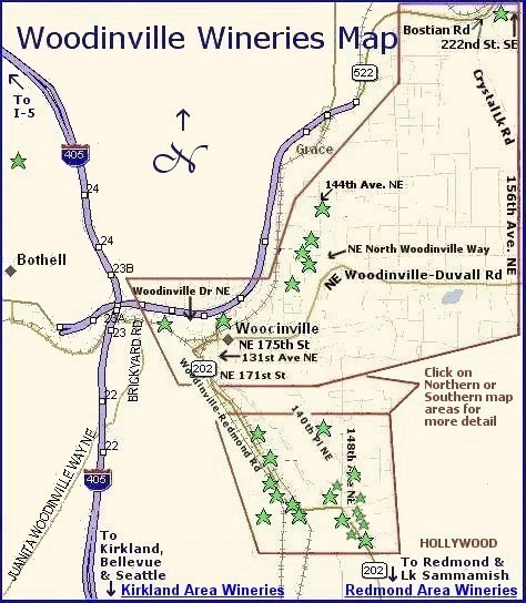 Woodinville Wineries Map Maps page   Washington Wine Regions   Woodinville Area Wineries Woodinville Wineries Map