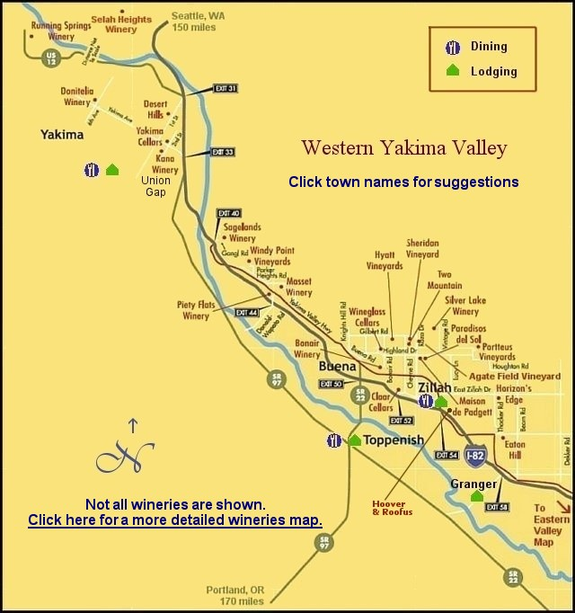Yakima Valley wine country lodging and dining map