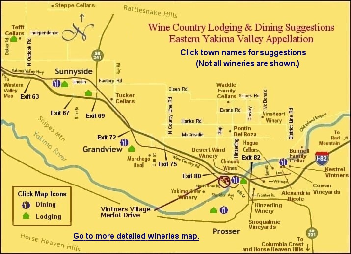 Map to eastern Yakima Valley wine country lodging & dining suggestions