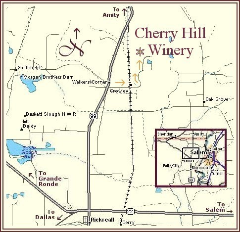 Map to Cherry Hill Winery - Mid Willamette Valley Wine Country