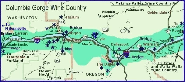 Map of Columbia River Gorge Wine Country, Oregon and Washington