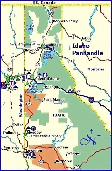 Northern Idaho Wine Country Lodging & Dining Suggestions Map
