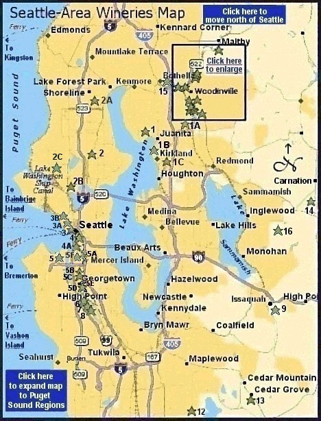 Map of Washington winery locations near Seattle