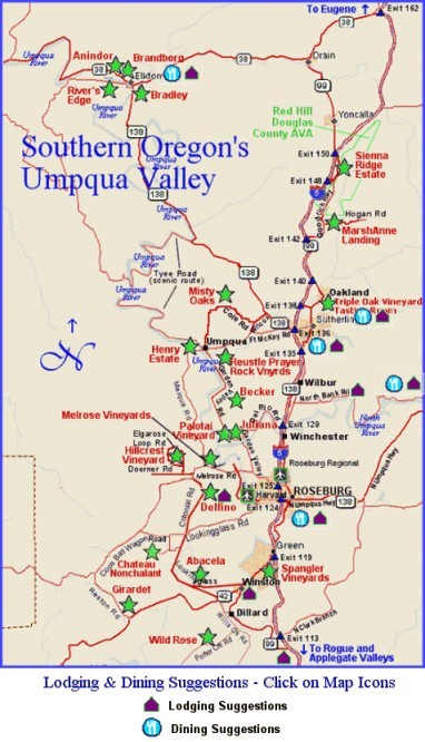 Map to lodging & dining suggestions in Oregon's Umpqua Valley wine region