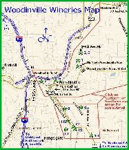 Small map links to larger version with details of Woodinville winery locations near Seattle